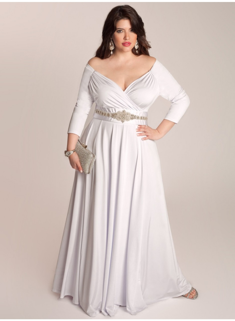 Off shoulder long sleeves plus size wedding gown wedding for Plus size wedding dresses with color and sleeves