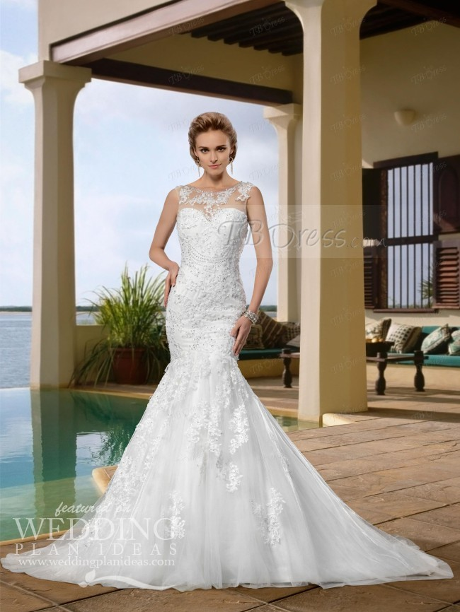Sleeveless Trumpet Wedding Dress - Cheap Wedding Dress