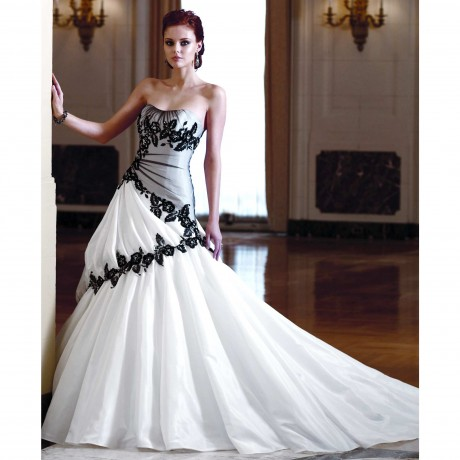 Ball Gown Black White Wedding Dress